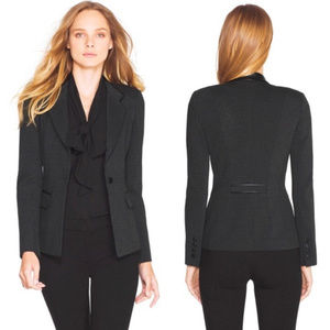White House Black Market Faux Leather Trim Blazer
